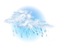 Înnorat și ploaie cu descărcări electrice