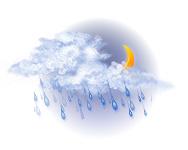În mare parte înnorat și ploaie moderată