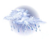 Înnorat, ploaie cu descărcări electrice